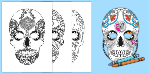 This is a picture of Day of the Dead Printable Masks inside black and white elvis