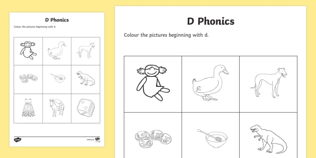 d Phonics Colouring Activity Sheet - Republic of Ireland, Phonics Resources, sounding out, initial sounds, phonics assessment, colouring,