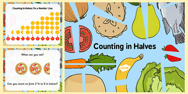 Counting in Halves Presentation - fractions, half, count, numbers