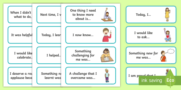 F-2 Reflection Sentence Starter Cards - sentence starters