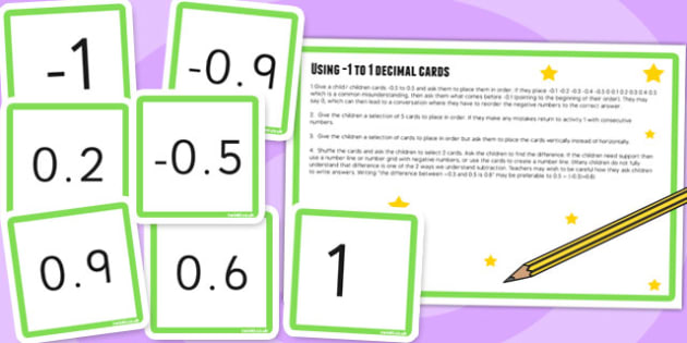 1 to 1 in Tenths Digit Cards and Activity - place value, maths