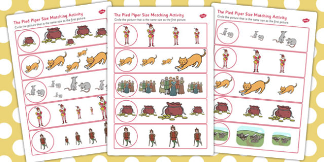 The Pied Piper Size Matching Worksheets - size, matching, sheet