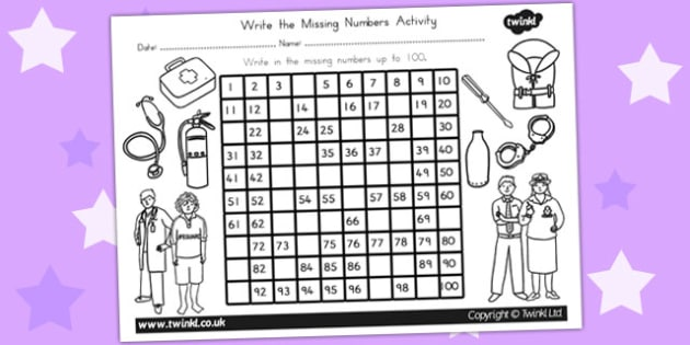 People Who Help Us Missing Numbers Number Square - counting aid