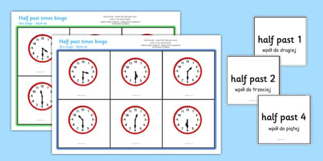 Half Past Bingo Polish Translation - polish, Time bingo, time game, Time resource, Time vocabulary, clock face, Oclock, half past, quarter past, quarter to, shapes spaces measures