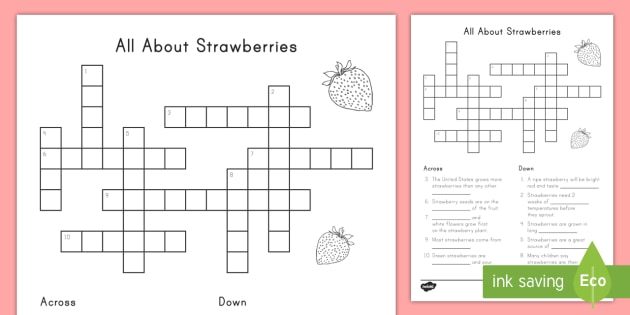 All About Strawberries Crossword - strawberries, strawberry plants, strawberry farming, strawberry picking, strawberry plant life cycle