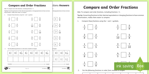 Year 6 Order Fractions Worksheet / Activity Sheet - Key Stage 2