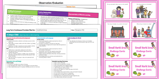 Small World Area Editable Continuous Provision Plan and Challenge Cards Pack Reception FS2