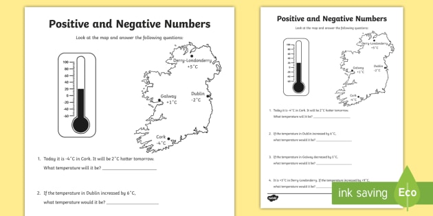 Positive and Negative Numbers using Temperature Worksheet - postive
