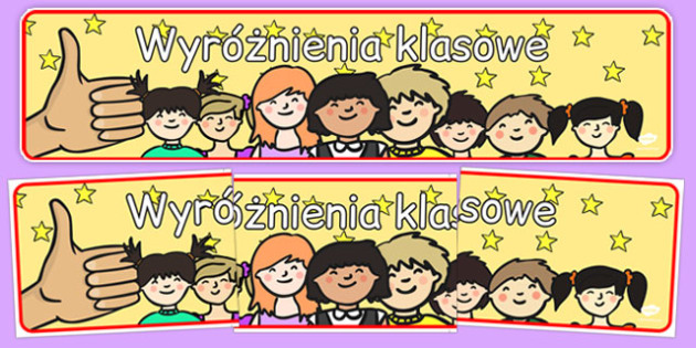 Banner na gazetkę ścienną Klasowe wyróżnienia po polsku