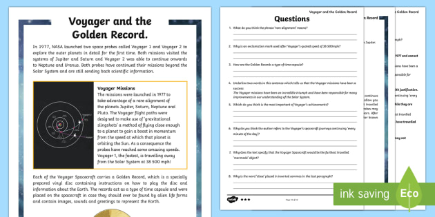 Voyager and the Golden Record Differentiated Reading Comprehension Activity - The Golden Record, Voyager, NASA, Space, Aliens, message in a bottle, time capsule