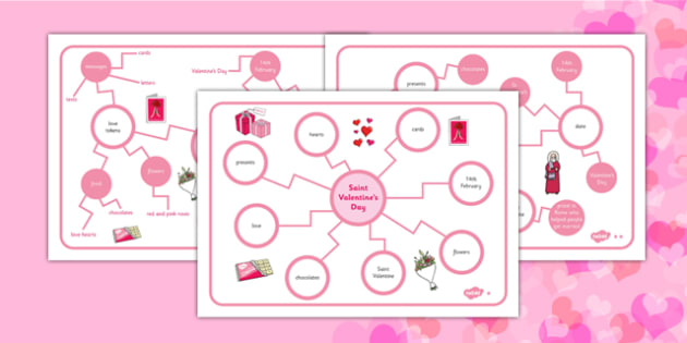 Saint Valentine's Day Differentiated Concept Maps - concept map, mind map, Valentine's Day concept map