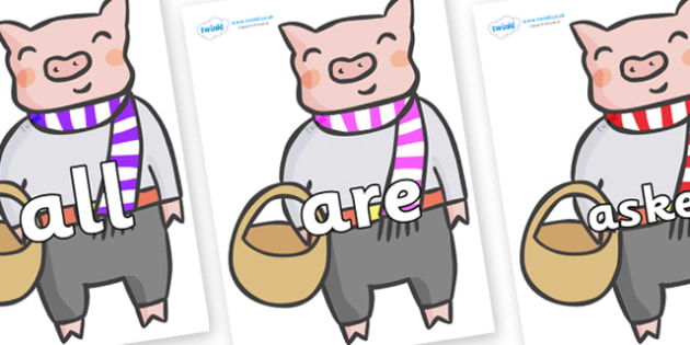 Tricky Words on Little Piggy - Tricky words, DfES Letters and Sounds, Letters and sounds, display, words
