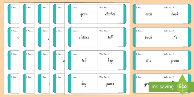 Sight Words - Turquoise Loop Cards