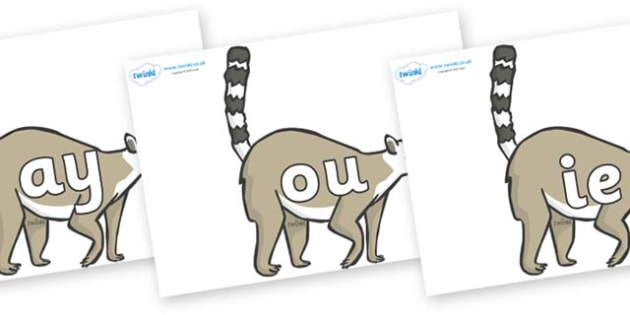 Phase 5 Phonemes on Lemurs - Phonemes, phoneme, Phase 5, Phase five, Foundation, Literacy, Letters and Sounds, DfES, display