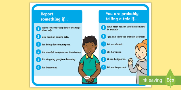 Reporting vs Telling Tales Poster - reporting, telling, tales