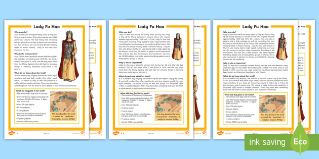 Lady Fu Hao Differentiated Reading Comprehension Activity - lady fu hao, history