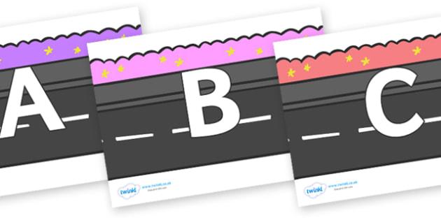 A-Z Alphabet on Roads - A-Z, A4, display, Alphabet frieze, Display letters, Letter posters, A-Z letters, Alphabet flashcards