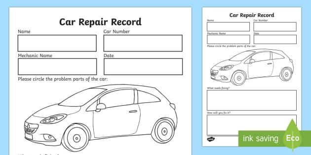 Mechanic Roleplay Area Car Repair Record (teacher made)