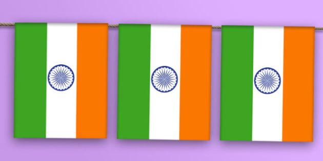 India Flag Bunting - india flag, india, flag, bunting, display bunting, display