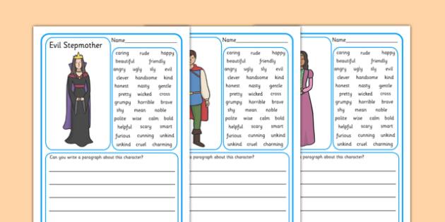 Character Description Writing Frames - Character description
