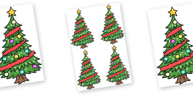 Editable Decorated Christmas Trees - Christmas, xmas, tree, editable, tree, advent, nativity, santa, father christmas, Jesus, tree, stocking, present, activity, cracker, angel, snowman, advent , bauble