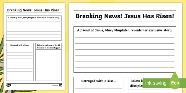 News Report Template | Easter Story Newspaper Writing Template Cfe Easter Easter