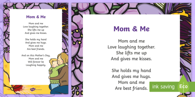 Mom and Me Poem - Canada Mother's Day, mother's day, poem