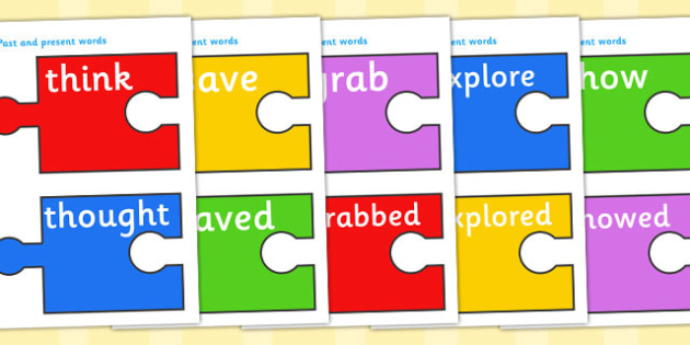 Past And Present Verbs  (on Jigsaw Pieces) - past and present, tenses, past, present, verbs, form, past tense, present tense, jigsaw pieces, literacy, grammar, English, KS2