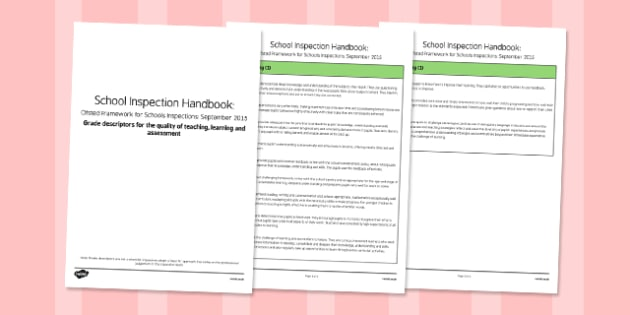 Grade Descriptors for The Quality Of Teaching, Learning And Assessment Descriptors Ofsted September 2015 - inspection, slt, assessment, progress, monitoring