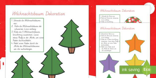 Weihnachtsbaum Dekorationen aus Papier Anleitung