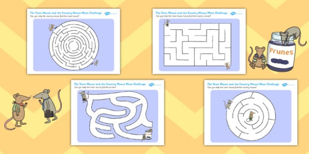 The Town House and the Country Mouse Differentiated Maze Sheets, worksheet