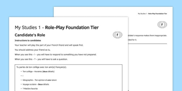 Mes études 1 Jeu de rôle Foundation Tier - french, Role Play, Foundation, Studies, School