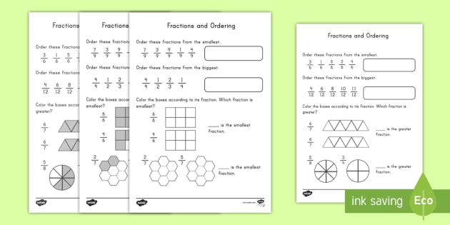 Ordering Fractions Worksheet Activity Sheet Fractions