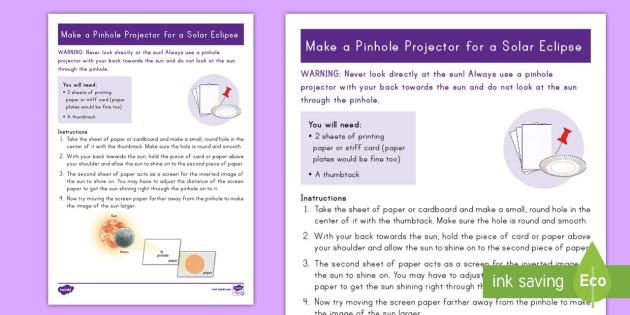 Solar Eclipse Pinhole Projector Step-by-Step Instructions - Solar Eclipse, solar eclipse 2017, earth moon and sun, solar eclipse science, pinhole projector, sun