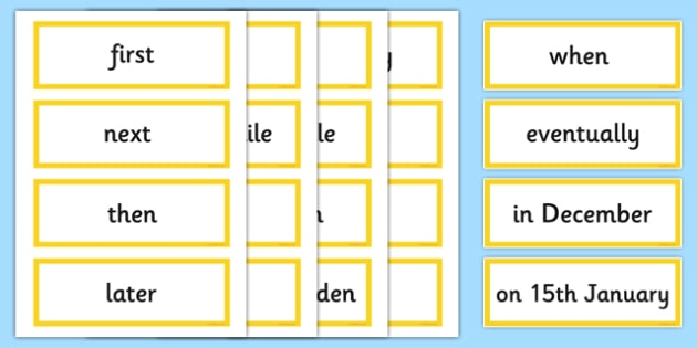 Time Connectives Word Cards - time, connectives, writing, words