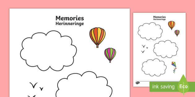 Memories Writing Template English/Afrikaans   Memories Writing Template    Ourselves, Reflect, Remember  Leaf Template For Writing