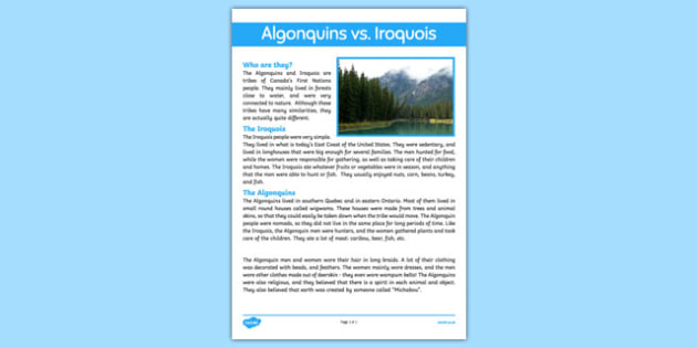 Iroquois vs Algonquins Fact Sheet - canada, Aboriginal, Canada, Native, Algonquin, Iroquois, First Nations