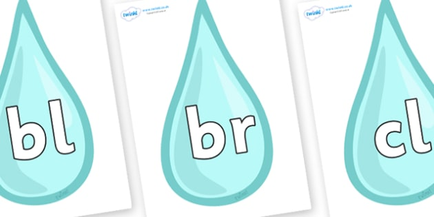 Initial Letter Blends on Water Droplets - Initial Letters, initial letter, letter blend, letter blends, consonant, consonants, digraph, trigraph, literacy, alphabet, letters, foundation stage literacy