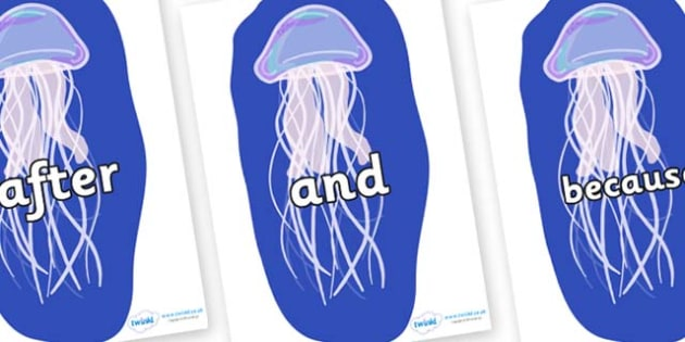 Connectives on Jellyfish - Connectives, VCOP, connective resources, connectives display words, connective displays