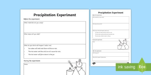 Precipitation Experiment Activity Sheet - All About Water, water, water cycle, science, precipitation, rain, science experiment, experiment, d