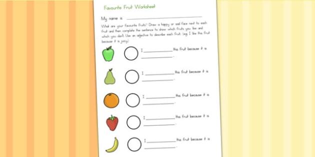 Favourite Fruits Description Worksheet - fruit, health, food