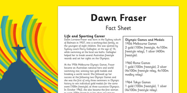 Australian Olympic Athletes Fact Sheet Dawn Fraser - Australia, Olympic Games, Olympics, Paralympics, Athletes, Information, Fact Sheet, Reading Comprehension, Year 6 History