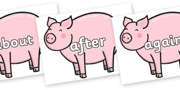 KS1 Keywords on Chinese New Year Pig - KS1, CLL, Communication language and literacy, Display, Key words, high frequency words, foundation stage literacy, DfES Letters and Sounds, Letters and Sounds, spelling