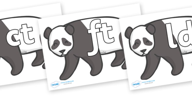 Final Letter Blends on Pandas - Final Letters, final letter, letter blend, letter blends, consonant, consonants, digraph, trigraph, literacy, alphabet, letters, foundation stage literacy