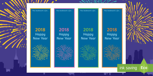 Happy New Year 2018 Editable Bookmarks