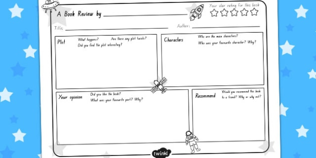Space Themed Book Review Sheet - australia, space, book review