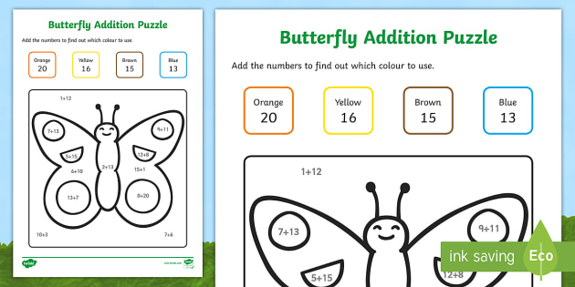 Butterfly Addition Puzzle (0-20)  - Minibeasts - minibeast investigation, addition, plus, maths game, math, butterfly, minibeasts, Minibeasts, Topic, Foundation stage, knowledge and understanding of the world, living things, snail, bee, ladybird, bu