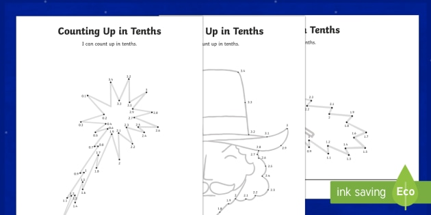 Bonfire Night Counting Up in Tenths Worksheet / Activity Sheet