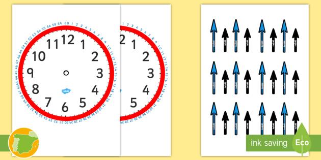 Reloj En Blanco Con Minutos Y Manecillas Para Recortar Ficha De