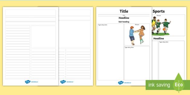 Class Newspaper Writing Template Design Literacy School